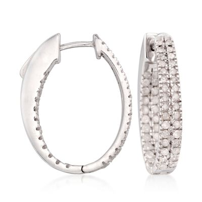 1.50 ct. t.w. Diamond Inside-Outside Hoop Earrings in Sterling Silver, , default