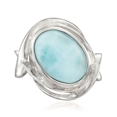14x10mm Oval Larimar Ring in Sterling Silver, , default