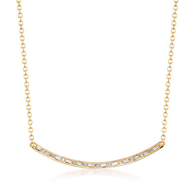 .18 Diamond Curved Bar Necklace in 14kt Yellow Gold