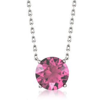 "Jewelry Set: Pink Swarovski Crystal Necklace and Earrings in Sterling Silver. 16"", , default"