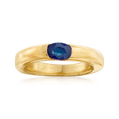 C. 1990 Vintage Cartier .50 Carat Sapphire Ring in 18kt Yellow Gold, , default
