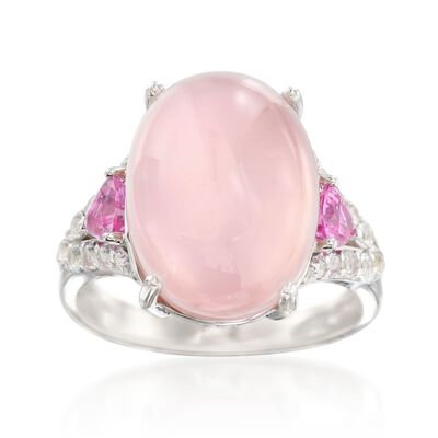 Rose Quartz Doublet Ring With Pink Sapphires and White Topaz in Sterling Silver, , default