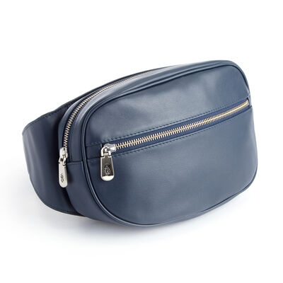 Royce Blue Leather Hip and Crossbody Belt Bag