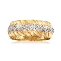 .50 ct. t.w. Diamond Chevron Ring in 18kt Yellow Gold Over Sterling Silver, , default