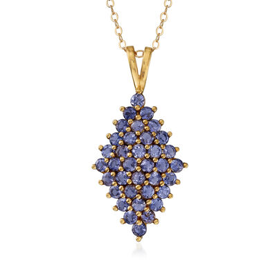 C. 1990 Vintage 2.00 ct. t.w. Tanzanite Cluster Pendant Necklace in 14kt Yellow Gold, , default