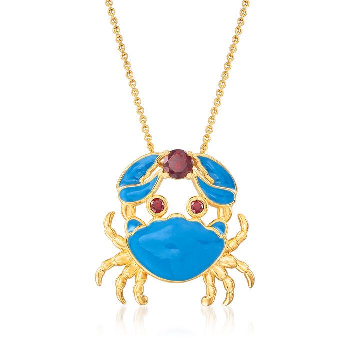 .40 Carat Garnet and Blue Enamel Crab Necklace in 18kt Gold Over Sterling