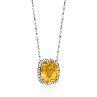 C. 1990 Vintage 5.39 Carat Yellow Beryl and .40 ct. t.w. Diamond Necklace in 18kt White Gold, , default