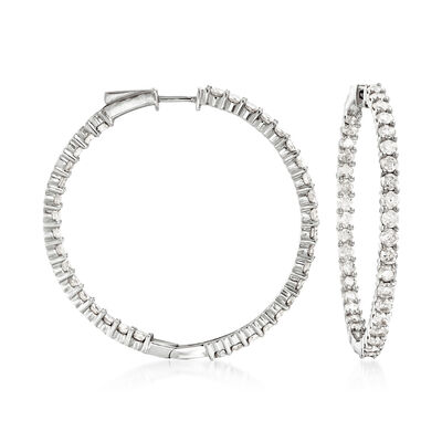 5.00 ct. t.w. Diamond Inside-Outside Hoop Earrings in 14kt White Gold, , default