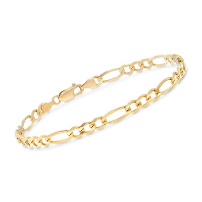 Men's 4.5mm 14kt Yellow Gold Figaro-Link Chain Bracelet, , default