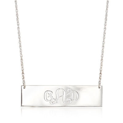 Sterling Silver Cutout Monogram Bar Necklace, , default