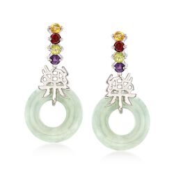 "Green Jade and .40 ct. t.w. Multi-Stone ""Happy"" Chinese Symbol Drop Earrings in Sterling Silver, , default"