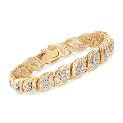1.00 ct. t.w. Diamond Bracelet in 18kt Yellow Gold Over Sterling, , default