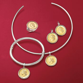 """Italian Genuine Lira Coin Charm Collar Necklace in Sterling Silver. 15"""", , default"""