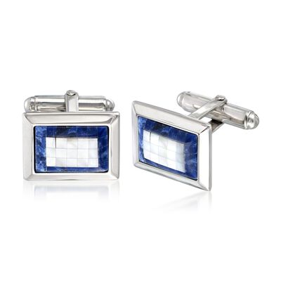 Blue Sodalite and 2.3mm White Mother-Of-Pearl Cuff Links in Sterling Silver, , default