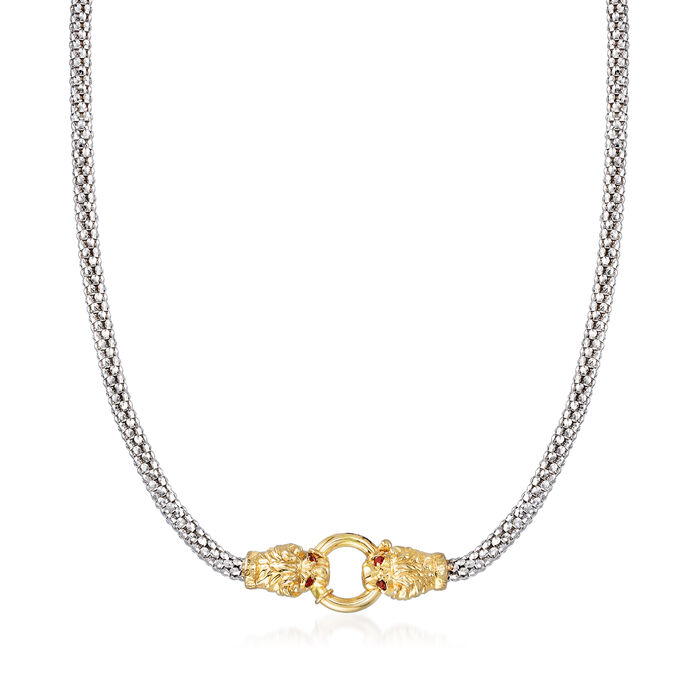 18kt Gold Over Sterling and Sterling Silver Double Lion Head Necklace, , default