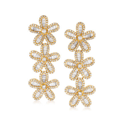 2.50 ct. t.w. Diamond Flower Drop Earrings in 18kt Yellow Gold, , default