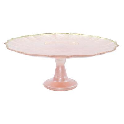 "Vietri ""Baroque"" Pink Glass Cake Stand"