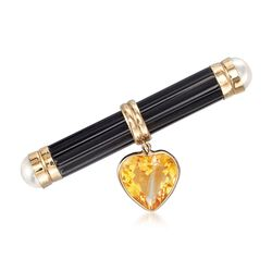 C. 1980 Vintage 1.60 Carat Citrine Heart and Black Onyx Bar Pin With Cultured Pearls in 14kt Gold, , default