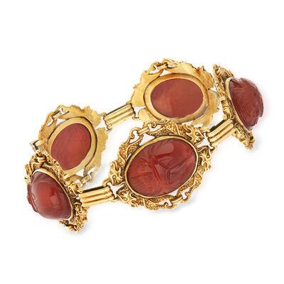 C. 1960 Vintage Carnelian Scarab Bracelet in 14kt Yellow Gold, , default