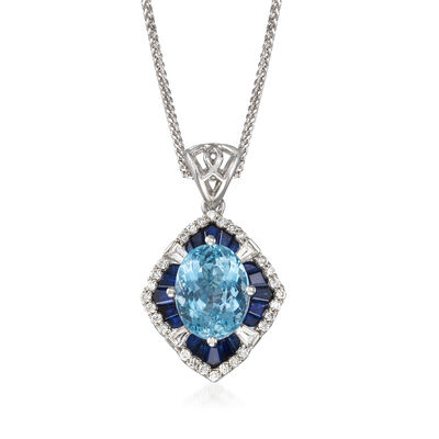 2.40 Carat Aquamarine and 2.60 ct. t.w. Blue and White Sapphire Pendant Necklace with .22 ct. t.w. Diamond in 14kt White Gold, , default