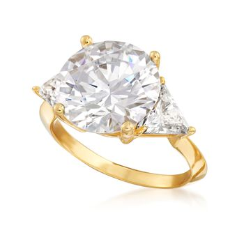 7.50 ct. t.w. Round and Trillion-Cut CZ Ring in 18kt Gold Over Sterling, , default