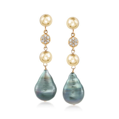 9-11mm Black Cultured Tahitian Pearl and .14 ct. t.w. Drop Earrings in 14kt Yellow Gold, , default