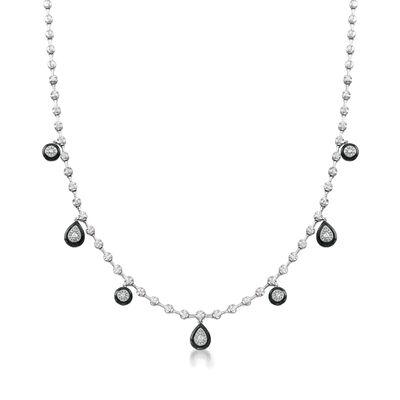 .90 ct. t.w. Diamond Teardrop Necklace with Black Enamel in 18kt White Gold