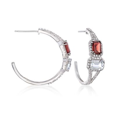 Rock Crystal and 2.10 ct. t.w. Rhodolite Garnet Hoop Earrings with White Topaz in Sterling Silver, , default