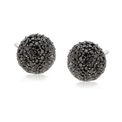 1.00 ct. t.w. Black Diamond Stud Earrings in Sterling Silver , , default