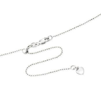 """Italian 1mm 14kt White Gold Adjustable Slider Bead Chain. 22"""""""