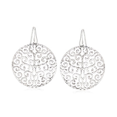 Italian Sterling Silver Cut-Out Filigree Disc Drop Earrings
