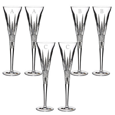 "Waterford Crystal ""Lismore Diamond"" Set of 2 Block Initial Toasting Flutes"