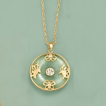 "Green Jade ""Good Luck"" Butterfly Pendant Necklace in 18kt Gold Over Sterling. 18"""