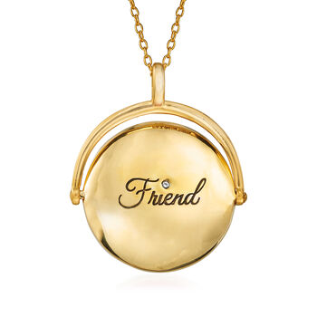 """Red Enamel Paw Print Reversible Pendant Necklace with CZ Accents in 18kt Gold Over Sterling Silver. 18"""", , default"""