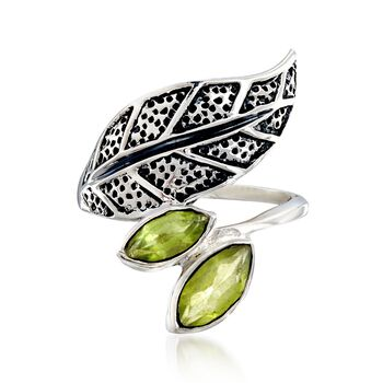 1.70 ct. t.w. Peridot Bypass Leaf Ring in Sterling Silver, , default