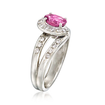 C. 1990 Vintage Tasaki .87 Carat Pink Sapphire and .22 ct. t.w. Diamond Ring in Platinum. Size 6, , default