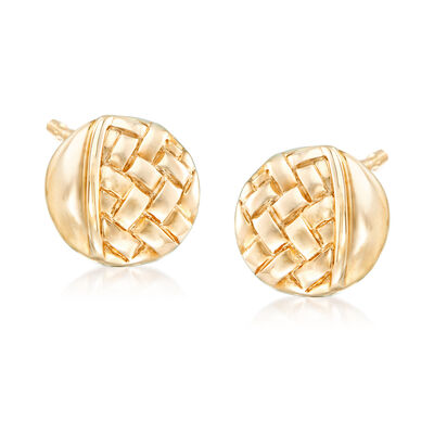 Basketweave-Motif Stud Earrings in 14kt Yellow Gold, , default