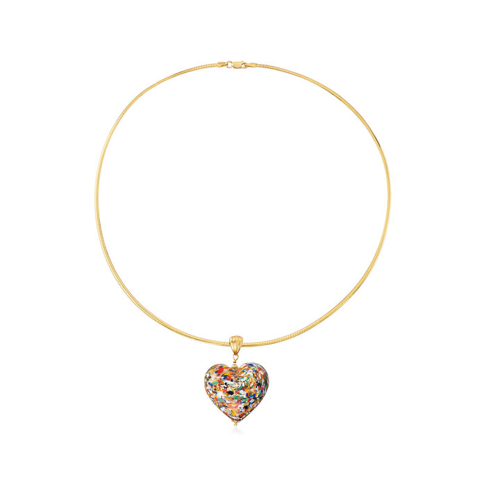 Italian Murano Glass Multicolored Heart Pendant with Omega Chain in 18kt Gold Over Sterling