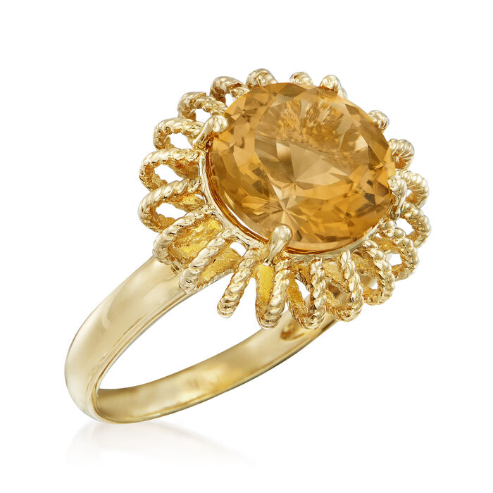 3.30 Carat Citrine Ring in 14kt Yellow Gold