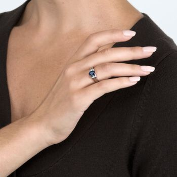 .75 Carat Sapphire and .10 ct. t.w. Diamond Ring in 14kt White Gold, , default