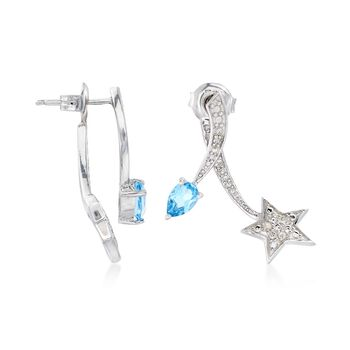 .70 ct. t.w. Blue Topaz and .10 ct. t.w. Diamond Star Front-Back Earrings in Sterling Silver. , , default