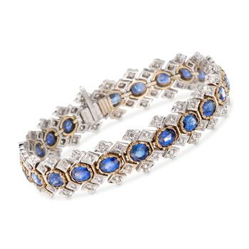 "C. 1980 Vintage 14.30 ct. t.w. Sapphire and 2.50 ct. t.w. Diamond Bracelet in 18kt Two-Tone Gold. 7.25"", , default"