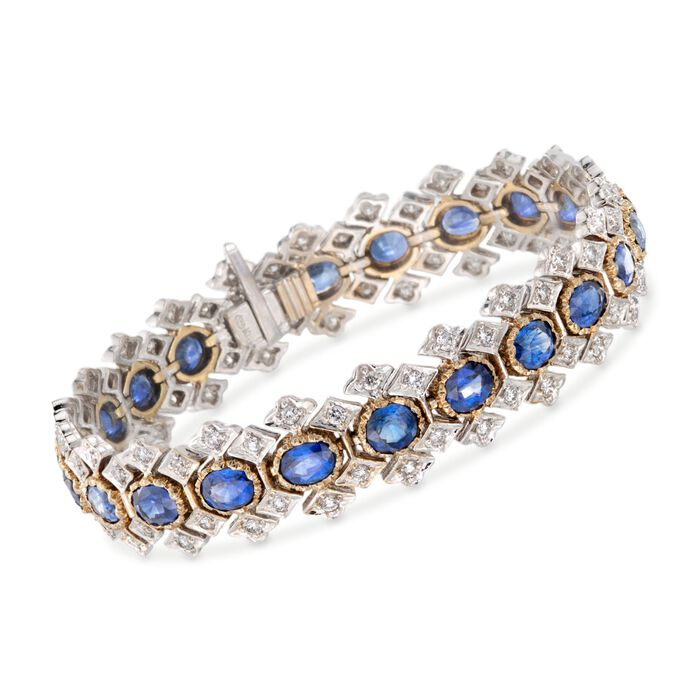 """C. 1980 Vintage 14.30 ct. t.w. Sapphire and 2.50 ct. t.w. Diamond Bracelet in 18kt Two-Tone Gold. 7.25"""", , default"""