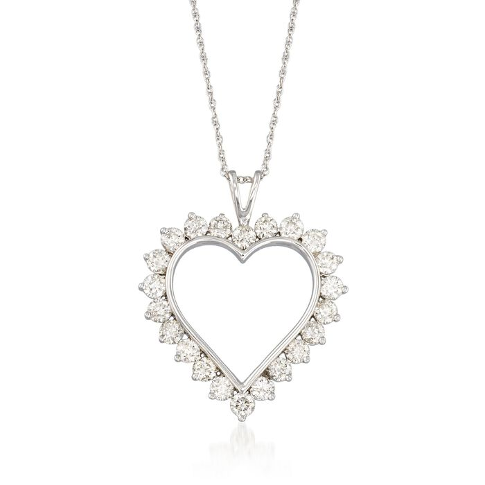 """2.00 ct. t.w. Diamond Open-Space Heart Pendant Necklace in Sterling Silver. 18"""", , default"""