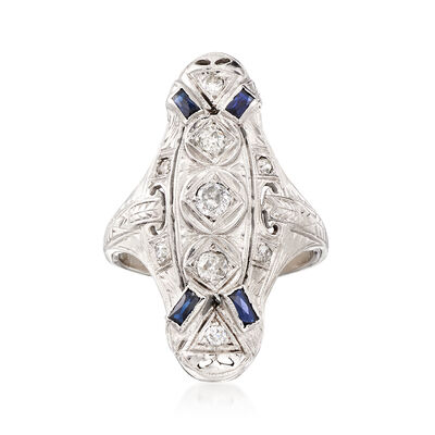 C. 1950 Vintage .37 ct. t.w. Diamond and .12 ct. t.w. Synthetic Sapphire Ring in 18kt White Gold