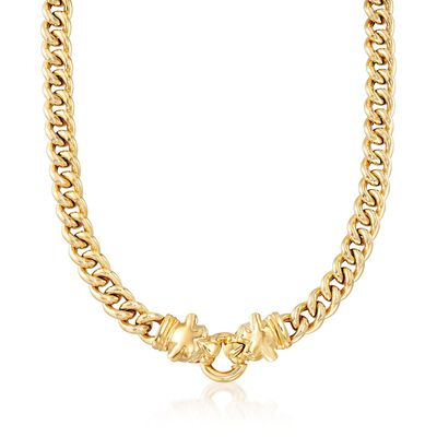 Italian 18kt Gold Over Sterling Double Panther Head Curb-Link Necklace