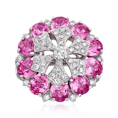 C. 1990 Vintage 4.80 ct. t.w. Pink Sapphire and .65 ct. t.w. Diamond Cluster Ring in 18kt White Gold