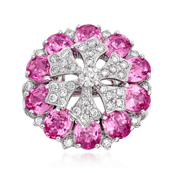 C. 1990 Vintage 4.80 ct. t.w. Pink Sapphire and .65 ct. t.w. Diamond Cluster Ring in 18kt White Gold. Size 6.5