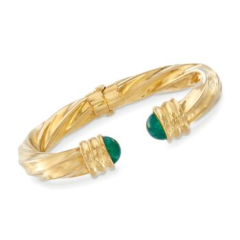 """C. 1980 Vintage Green Chalcedony Cuff Bangle Bracelet in 18kt Yellow Gold. 7"""", , default"""