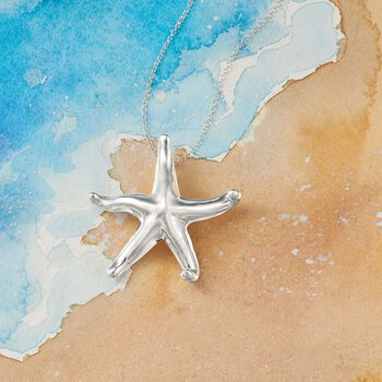 "Sterling Silver Starfish Pendant Necklace. 18"", , default"